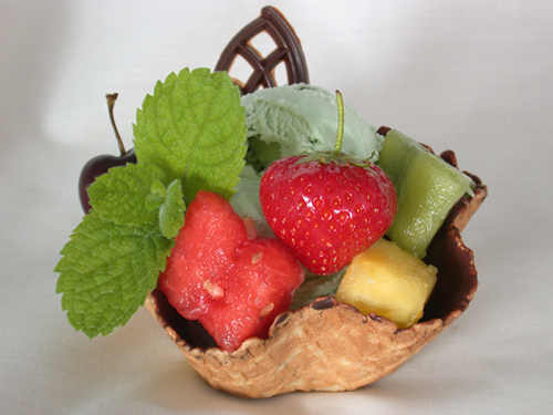 mint choc chip and fruit in waffle basket